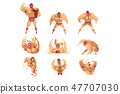 Set of professional muscular wrestler in different actions. Mixed martial artist. Combat sport 47707030