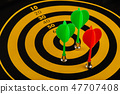 The game of darts, darts on the target. 47707408