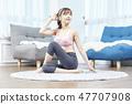 伸展運動,健身,瑜伽,普拉提,年輕女子 47707908