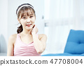 伸展運動,健身,瑜伽,普拉提,年輕女子 47708004