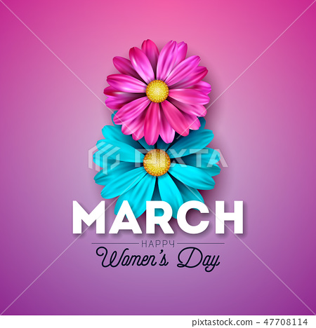 Happy Womens Day Floral Greeting Card Design. International Female Holiday Illustration with Blue 47708114