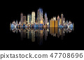 Futuristic modern buildings with reflection 47708696