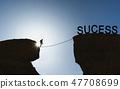 a man balancing walking on rope to success 47708699