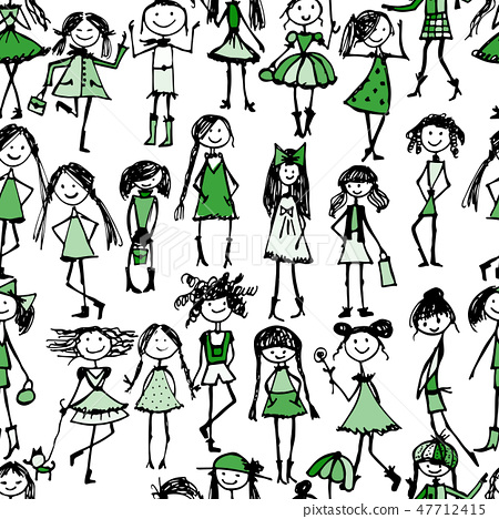 Fashion girls, seamless pattern for your design 47712415