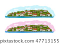 Old european city. Mediterranean sea. Sketch for your design 47713155