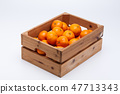 Orange tangerines in wooden box on white backgroun 47713343