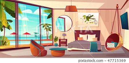 Vector interior of hotel bedroom, summer resort 47715369