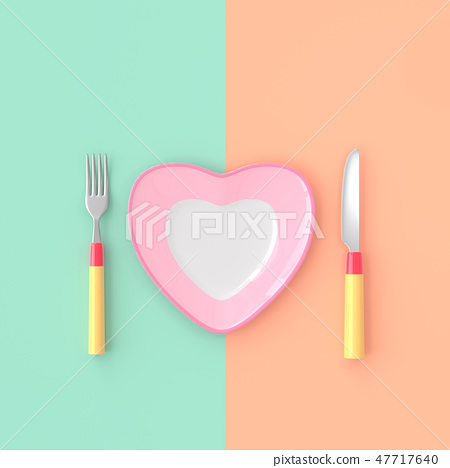 plate heart shape with knife and fork 47717640