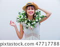 Beautiful woman with white roses wreath on white background 47717788