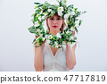 Beautiful woman with white roses wreath on white background 47717819
