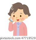 在智能手机的资深女性报告人 47719529