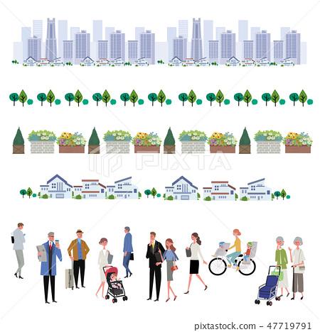 城市景觀和人物插圖大型團體辦公室生活 47719791