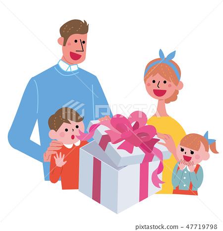 家庭的例證打開禮物 47719798