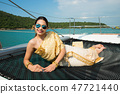 Asian Woman Gold Yellow Thai Traditional Costume 47721440