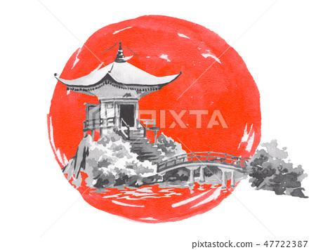 Japan traditional sumi-e painting. Fuji mountain, sakura, sunset. Japan sun. Indian ink illustration 47722387