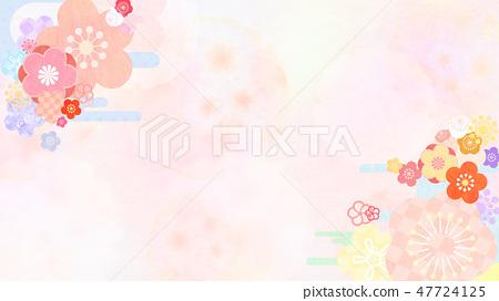 日本 - 日式 - 日式 - 背景 -  Washi  - 春 - 梅 47724125