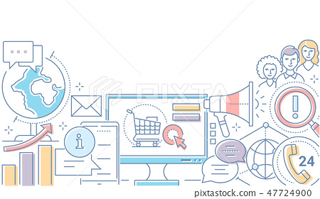 Digital marketing - modern line design style illustration 47724900