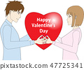 Illustration of a young man and a woman with a red heart 47725341