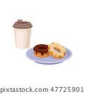 컵, 벡터, 도넛 47725901