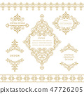 Set of line art frames and borders, Eastern style 47726205