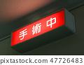 手術過程中的手術室指示(紅色指示燈) 47726483