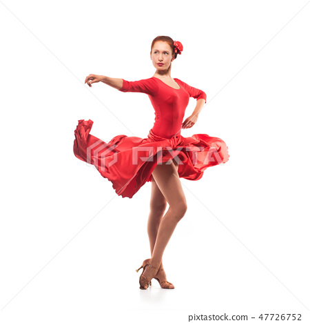 woman dancer wearing red dress 47726752