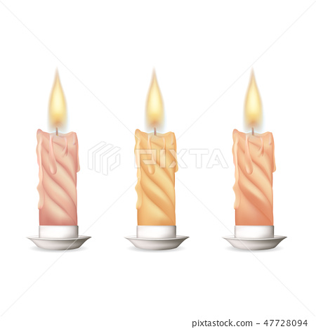Wax candle, candle burn on white background 47728094