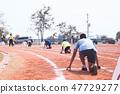 students ready to start run on running track 47729277