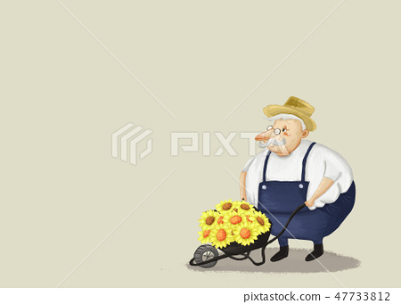 Grandfather with flowers, Copy space. 47733812