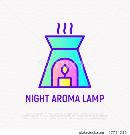 Night aroma lamp with candle thin line icon 47734256