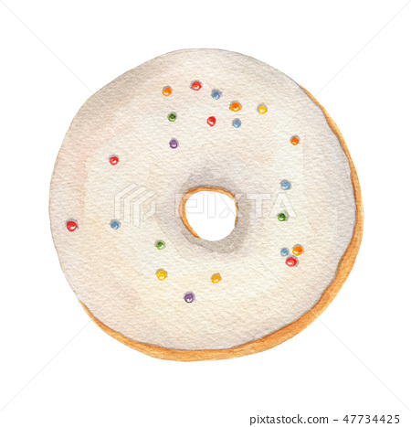 Watercolor donut with white icing and sprinkles  47734425