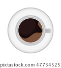 Cup of coffee with saucer in top view. 47734525
