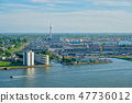 View of Rotterdam port and Nieuwe Maas river 47736012