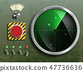 Military dashboard with radar, red button 47736636