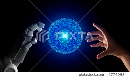 Human hand and robot hand with HUD circle interface and binary n 47740984