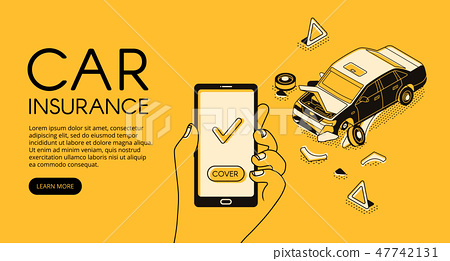 Car accident insurance app illustration 47742131