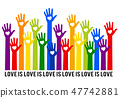 Rainbow hands with hearts, love is love, vector  47742881