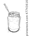 Artistic Illustration or Drawing of Jam, Marmalade or Honey Jar and Spoon 47743616