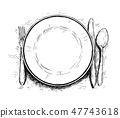 Artistic Illustration or Drawing of Empty Plate, Knife and Fork 47743618
