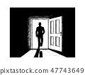 Cartoon of Open Door and Man Walking in or from Light 47743649