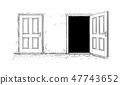 Cartoon of Two Open and Close Wooden Decision Door 47743652