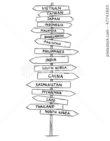 Drawing of Old Road Directional Arrow Sign With Names of Some Asian Countries 47743665