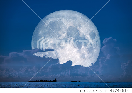 super snow moon back on sky silhouette cloud sea 47745612
