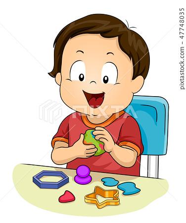 Kid Toddler Boy Play Clay Illustration 47748035