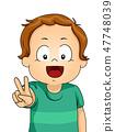Kid Toddler Boy Peace Sign Illustration 47748039