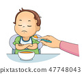 Kid Toddler Boy Dont Want To Eat Illustration 47748043