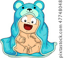 Kid Toddler Boy Bath Robe Illustration 47748048