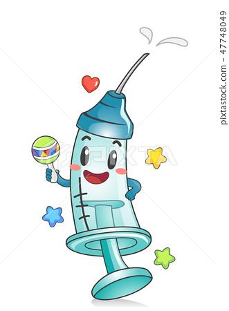 Toddler Syringe Mascot Vaccine Illustration 47748049