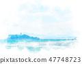 稲村케崎에서 본 에노시마 수채화 화풍 47748723
