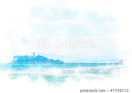 Inamura Kazaki看到的江之島水彩畫風格 47748723